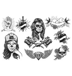 set of vintage tattoos compositions vector image