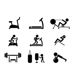 Set of workout and gym machines icons vector