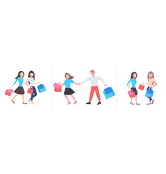 set people with colorful purchases big seasonal vector image