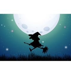 Silhouette witch on broom vector