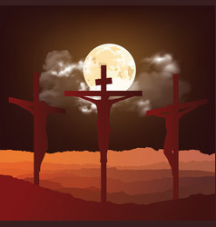 silhouetted crucifixion christ vector image