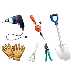 six different kinds construction tools vector image