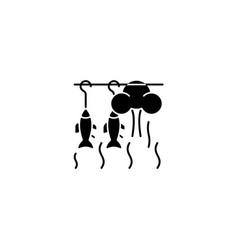 Smoking fish black glyph icon vector