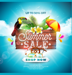 Summer sale design with flower toucan and beach vector