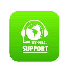 technical support icon green vector image
