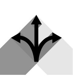 Three-way direction arrow sign black icon vector