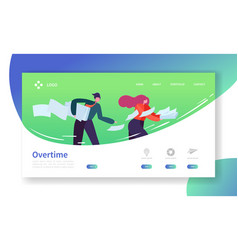 Time management landing page template overtime vector