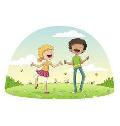 Two happy children vector