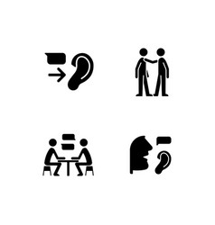 Verbal and nonverbal communication black glyph vector