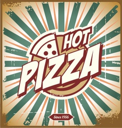 Vintage pizza sign background template vector image