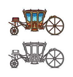Vintage royal chariot or retro buggy for wedding vector