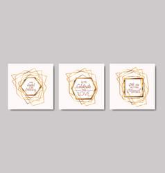 wedding invitation set golden frames vector image