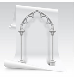 White paper sheet and gothic arch model vector