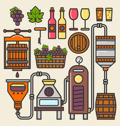 Wine production line or winery winemaking vector