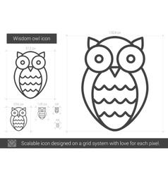 Wisdom owl line icon vector image