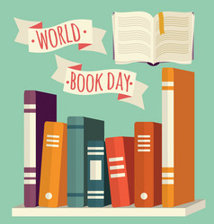 world book day books on shelf with festive banner vector image