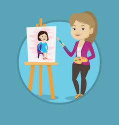 creative female artist painting portrait vector image vector image