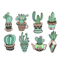 doodle cacti collection hand drawing set of vector image