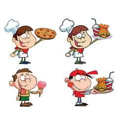 Kids With Fast Food- Collection vector image