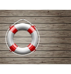 Life Buoy on a Wooden Paneled Wall vector image