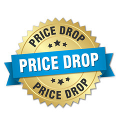 price drop round isolated gold badge vector image vector image