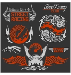 Sports car club emblems labels and badges set vector image