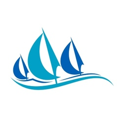 Stylized blue sailing boats upon the waves vector image vector image