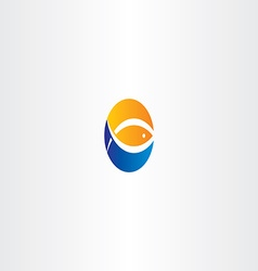 water wave fish and sun logo icon vector image