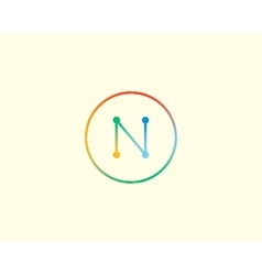 Abstract letter N logo design template Colorful vector image vector image