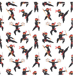 different poses of ninja fighter in black cloth vector image
