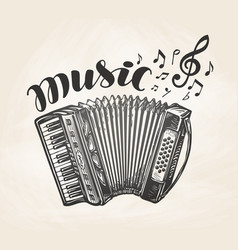 hand drawn classic accordion vintage musical vector image vector image