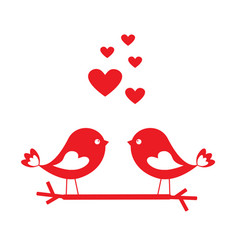 love birds with red hearts - card for valentines vector image vector image