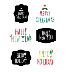 Merry Christmas and Happy new year Label design vector image