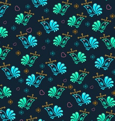 Royal Floral Birds Seamless Pattern vector image