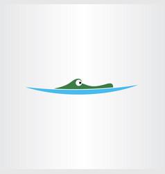 crocodile in water icon logo vector image