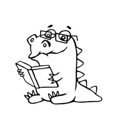 dragon sits and reads a book vector image vector image