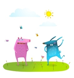 Friends cute animals playing having fun on sunny vector image vector image