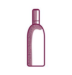Line wine bottle liquor beverage vector