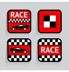 Race - set stickers square on the gray background vector image vector image