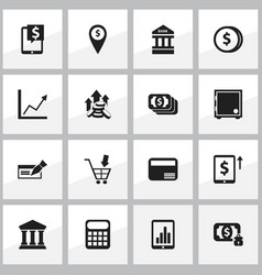set of 16 editable financial icons includes vector image vector image