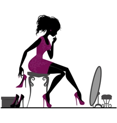 Silhouette girl with shoes vector image
