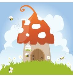 Spring Bees House Mushroom Door Fairy Tale Clouds vector image