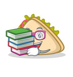 student with book sandwich character cartoon style vector image