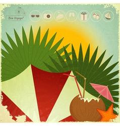 Summer Beach Card in retro Style vector image vector image