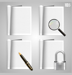Collection of icons open the paper journal vector