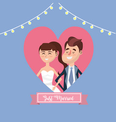 couple married inside of heart and ribbon design vector image vector image