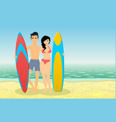 man and woman surfers vector image