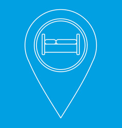 Map pointer with hotel sign icon outline style vector