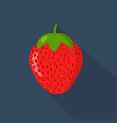 strawberry cartonn flat icon dark blue background vector image vector image