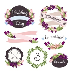 Wedding collection with hand-drawn flowers and vector image vector image